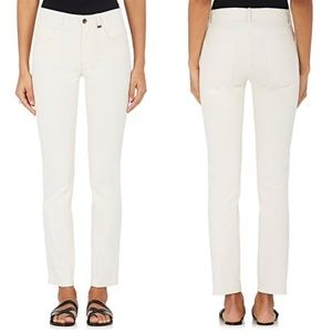 HELMUT LANG Creased Canvas Skinny Jeans in IVORY